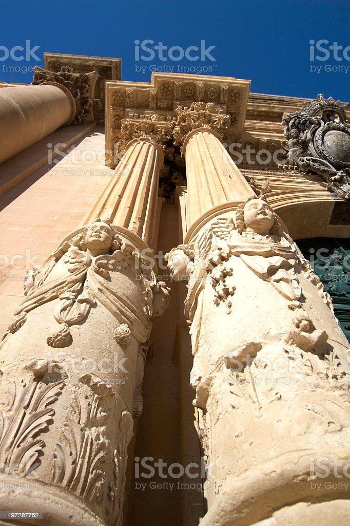 Ragusa, Sicily: Baroque Pillars of Duomo di San Giovanni (Close-Up) stock photo