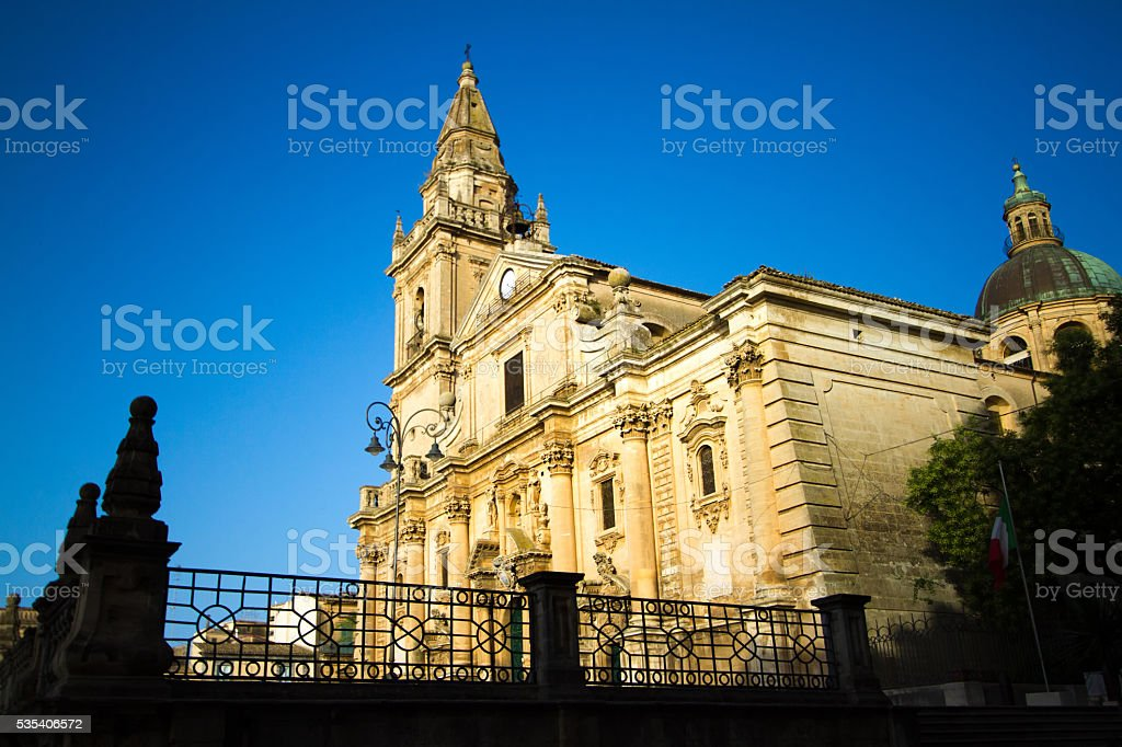 Ragusa, Sicily: Cathedral of San Giovanni, Blue Sky, Side View stock photo