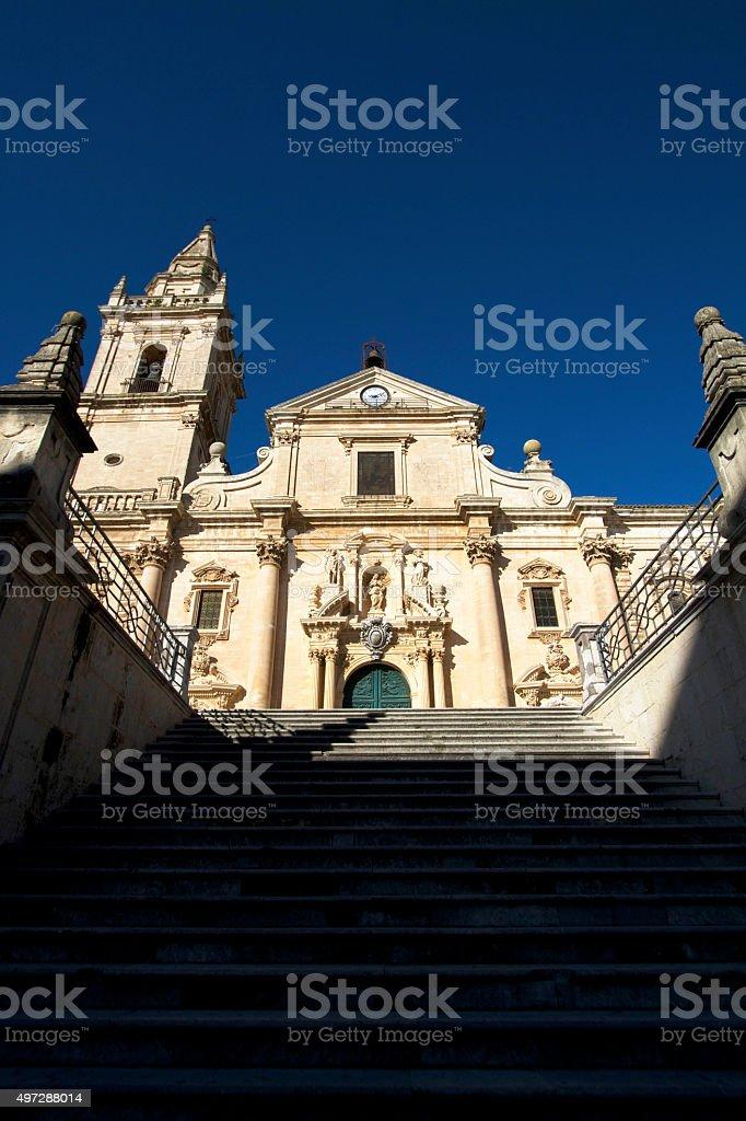 Ragusa, Sicily: Cathedral of San Giovanni, Steps, Deep Blue Sky stock photo