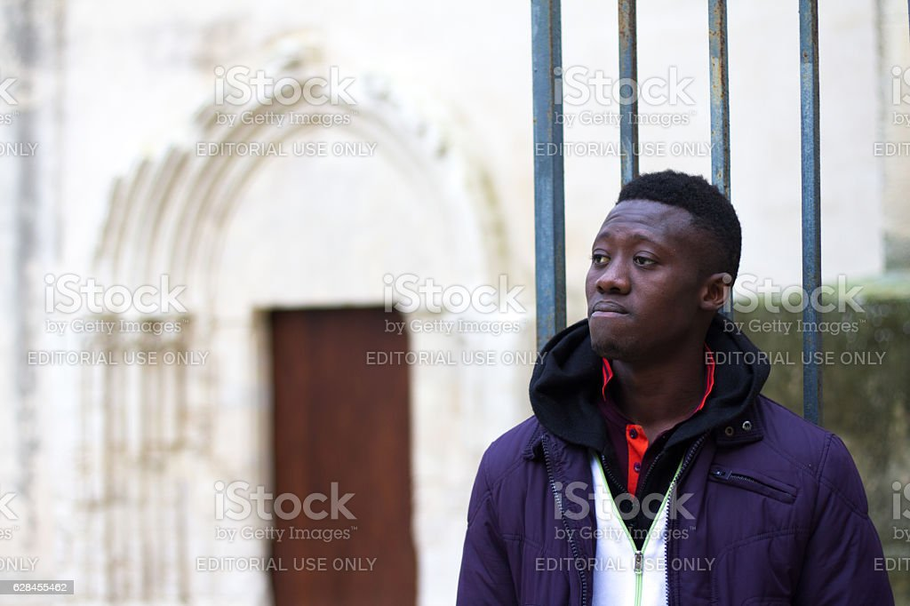 Ragusa, Sicily: Senegalese Migrant at Immigrant Reception Center stock photo