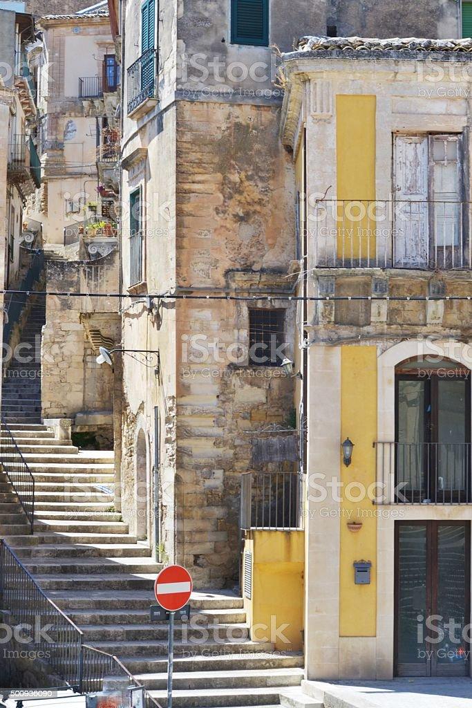 Ragusa town stock photo
