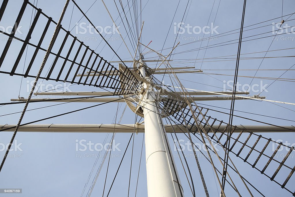 Rah sailing ship with rigging stock photo