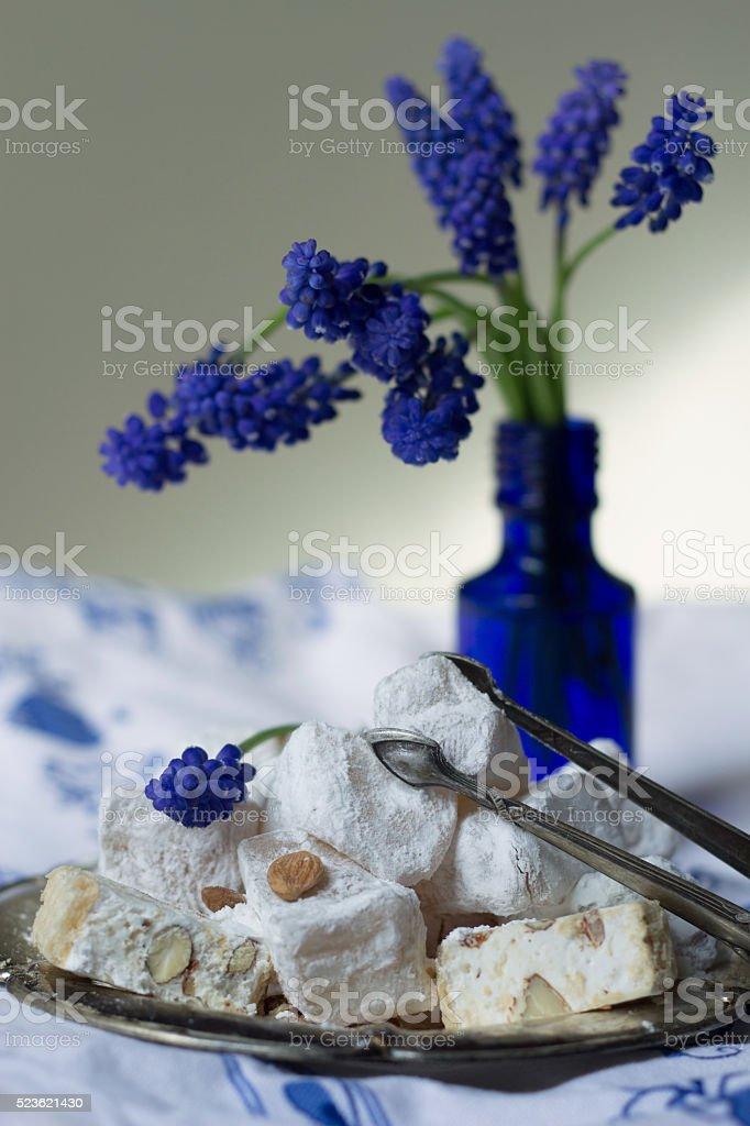 rahat lokum and white nougat - tasty oriental sweets stock photo