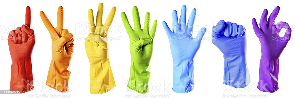 raibow color rubber gloves stock photo