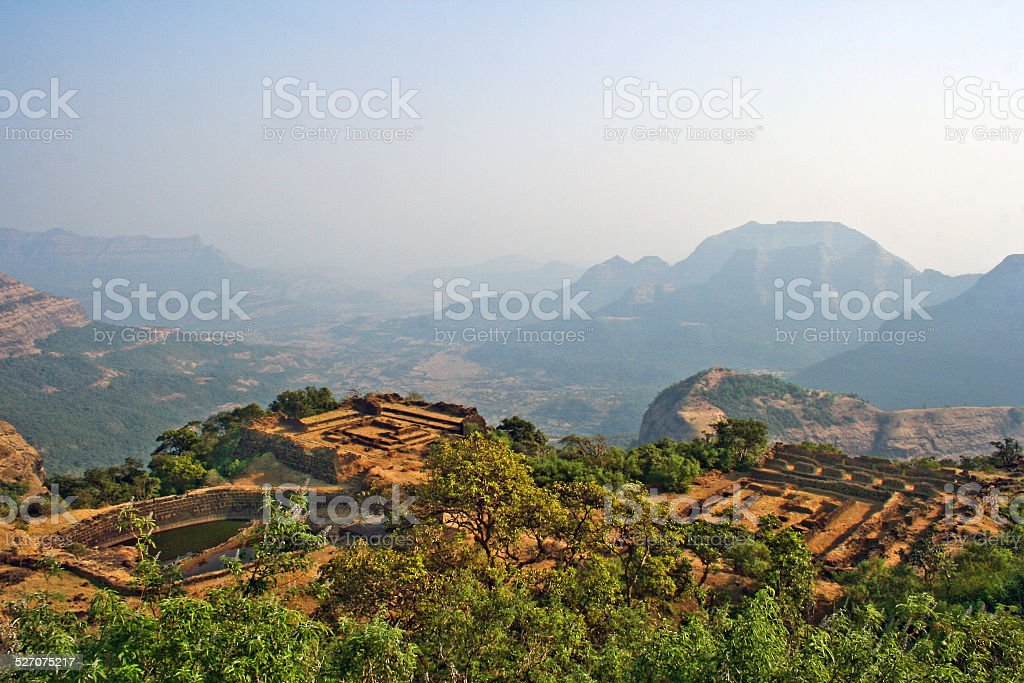Raigarh fort for from top stock photo