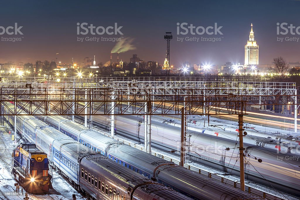Rail access line of large station royalty-free stock photo