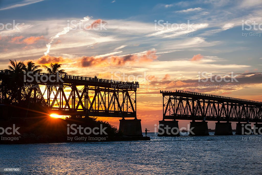 Rail bridge at Florida Keys stock photo