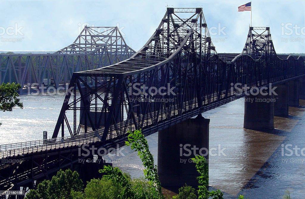 Rail Bridge Mississippi River stock photo