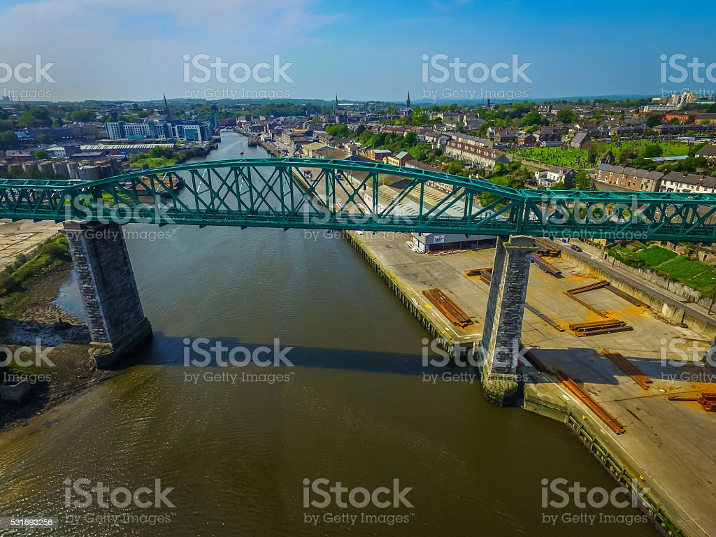 Rail Bridge over River Boyne stock photo