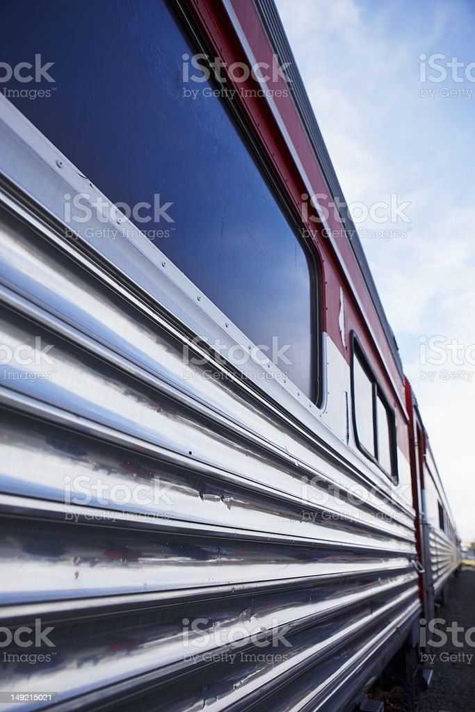 Rail Car In the Station Blue Sky stock photo
