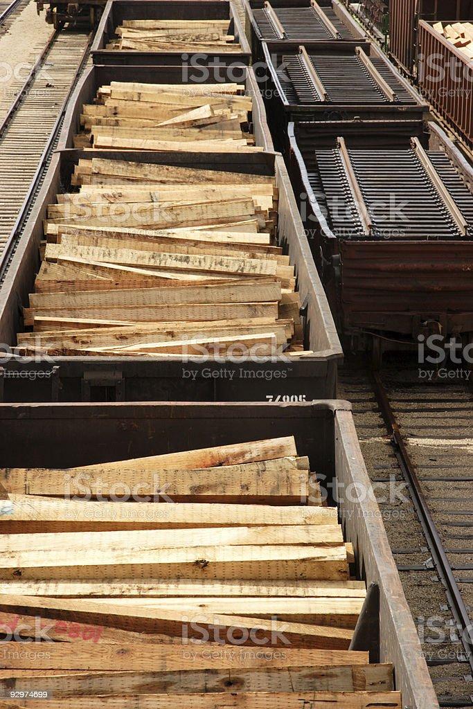rail cars tracks timbers royalty-free stock photo