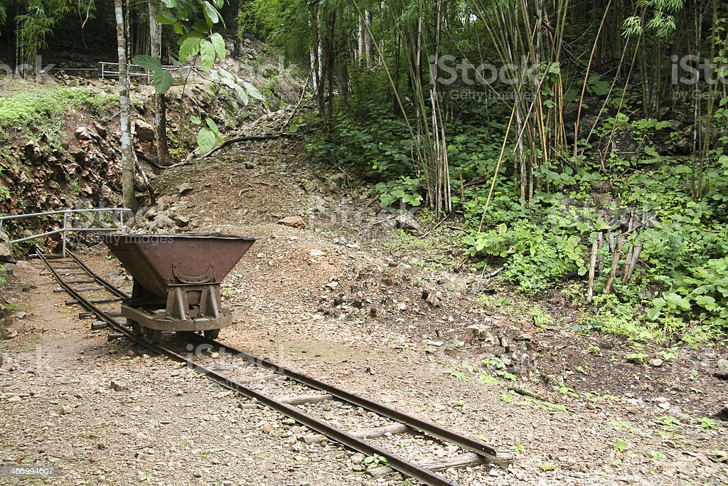 Rail Cart and Track Death Railway Thailand stock photo