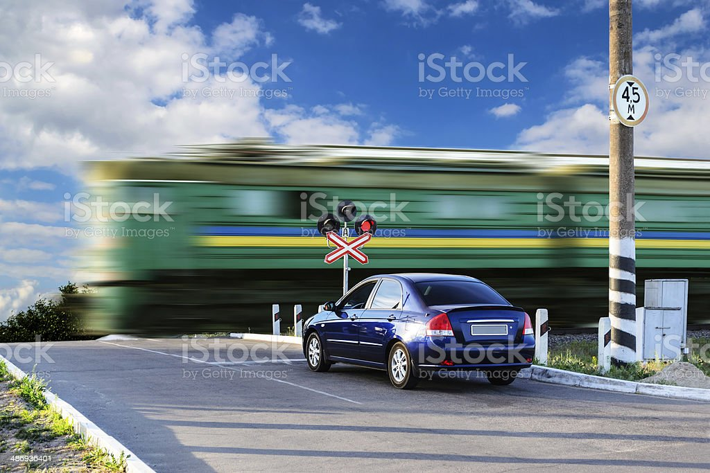 Rail crossing stock photo