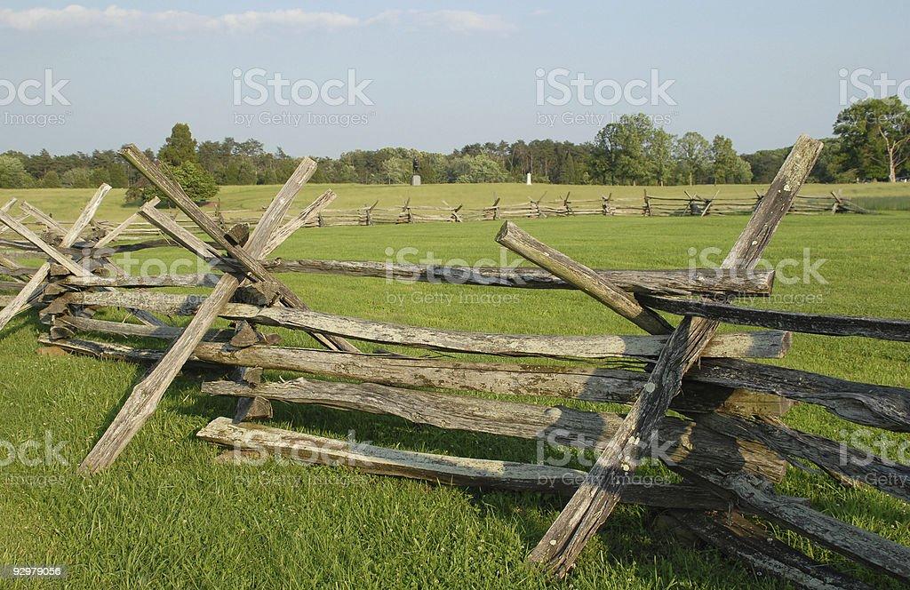 Rail fence at the Manassas battlefield royalty-free stock photo