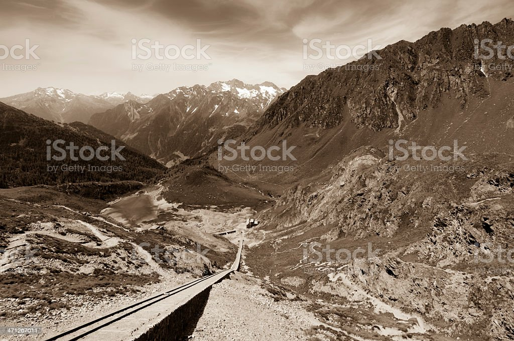Rail in an abandoned mine stock photo