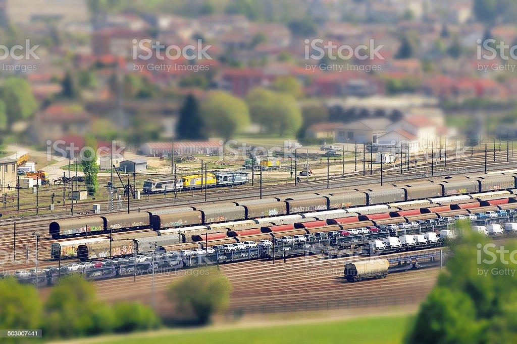 Rail networks in tilt-shift stock photo