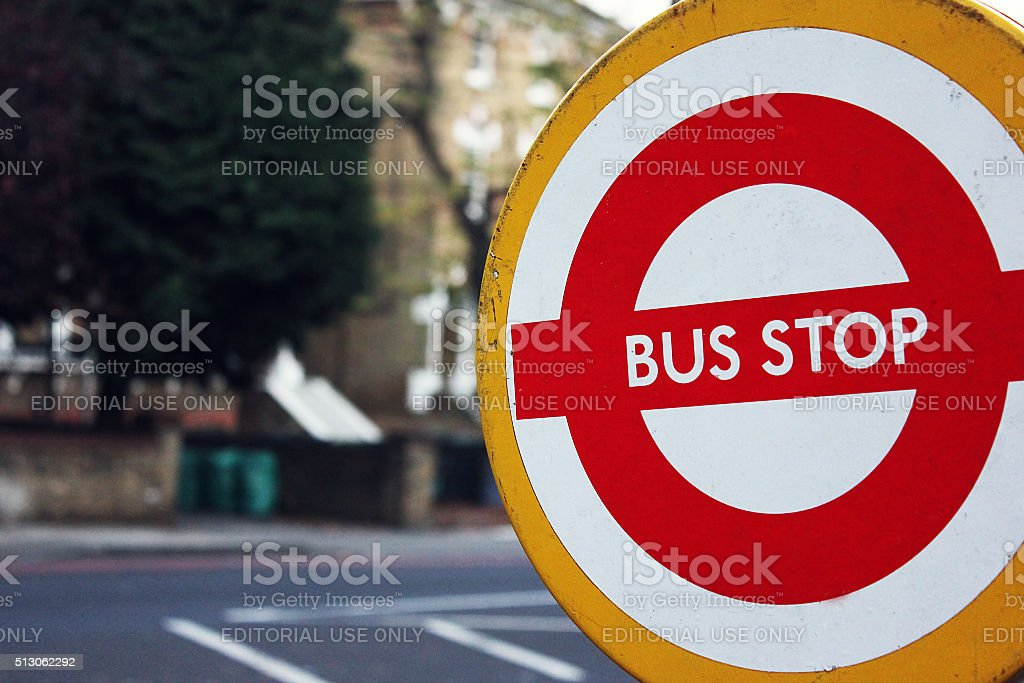 Rail Replacement Bus Service. Temporary Stop. Engineering Works, Tube Strike. stock photo