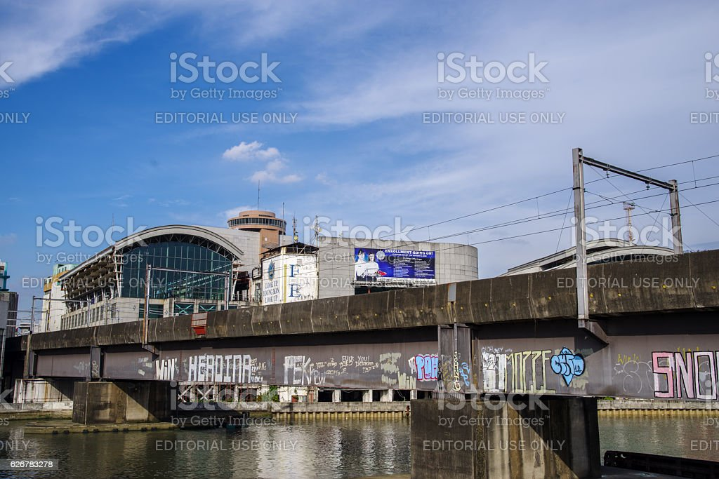 LRT Rail Road Bridge at MacArthur Bridge stock photo