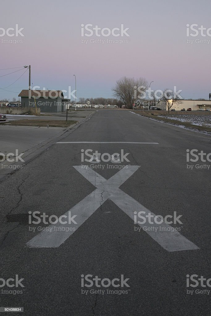 Rail Road Crossing Sign on Road royalty-free stock photo