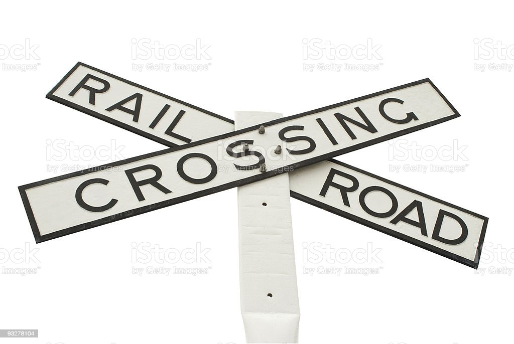 rail road crossing sign stock photo