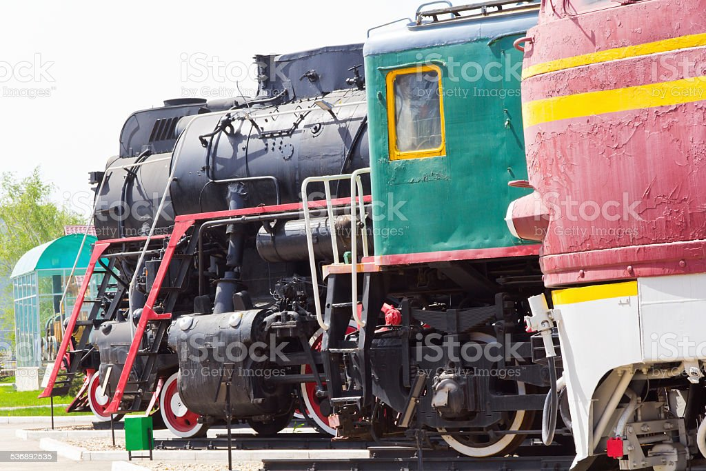 Rail road locomotive stock photo