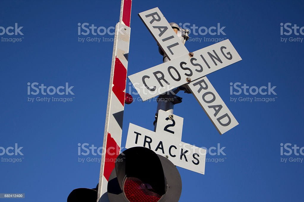 Rail road sign stock photo