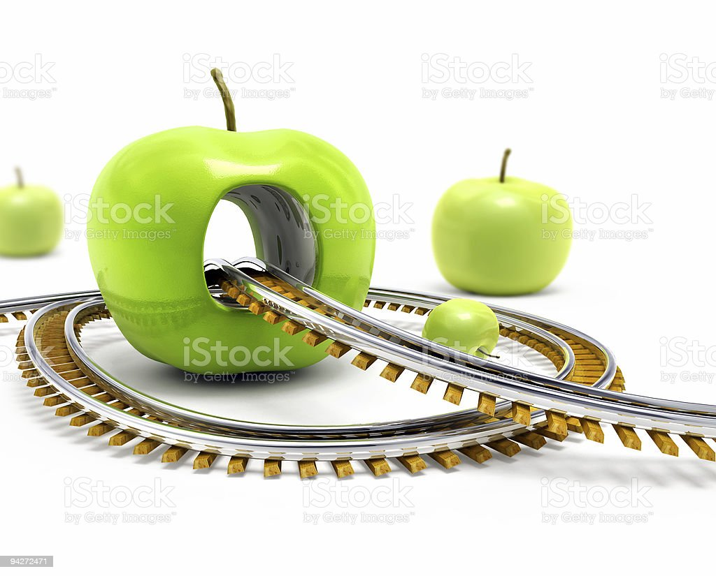 Rail road throw green apple royalty-free stock photo