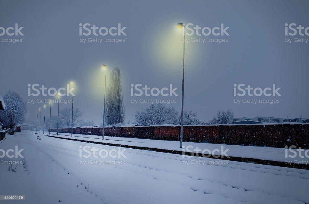 Rail station winter night royalty-free stock photo