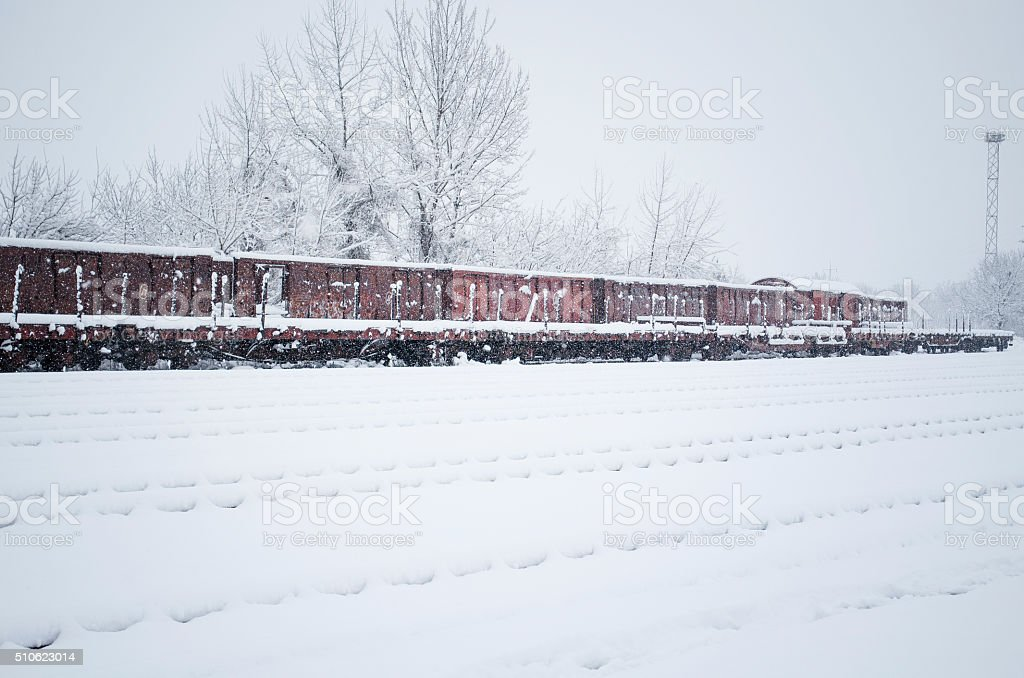 Rail station winter royalty-free stock photo
