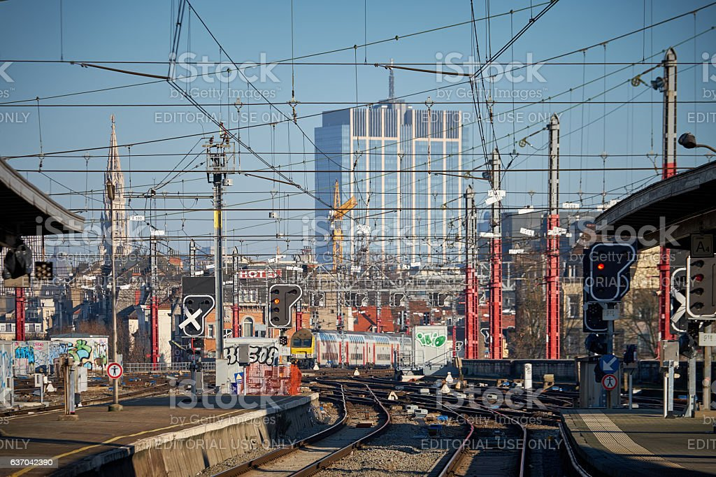 Rail track and wires at Brussels Nord Station stock photo
