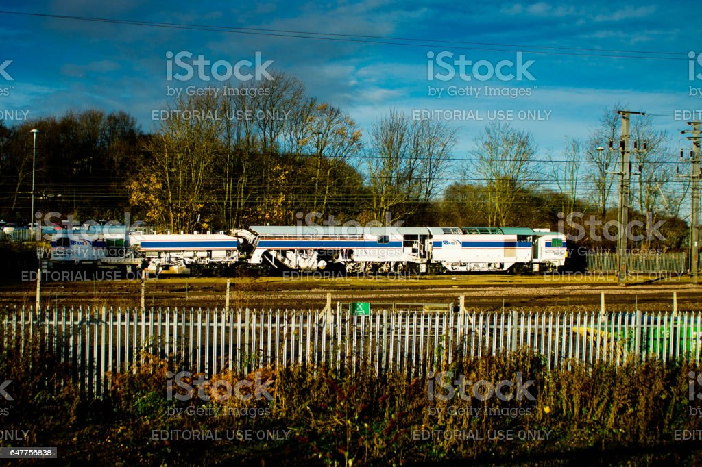 Rail track checker in siding stock photo
