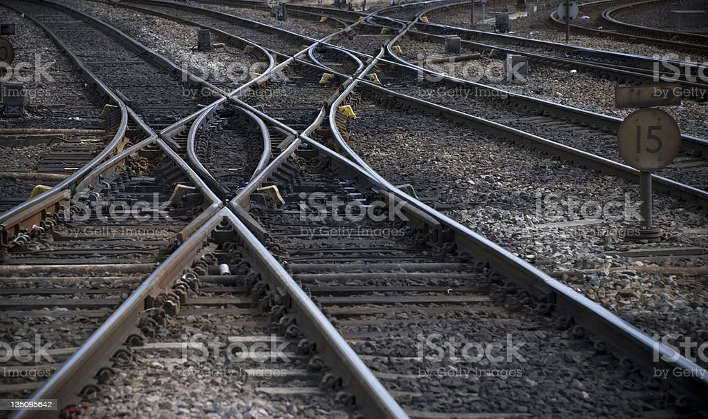 Rail track cross roads royalty-free stock photo