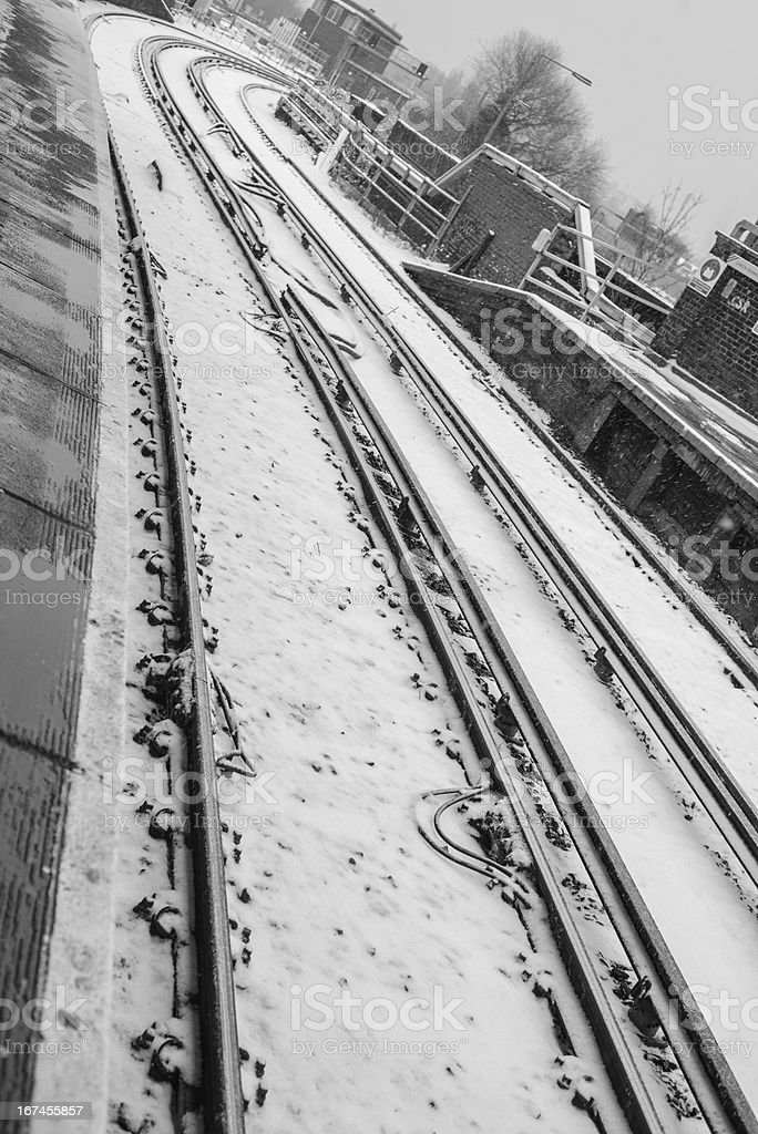 Rail Tracks covered in Snow stock photo