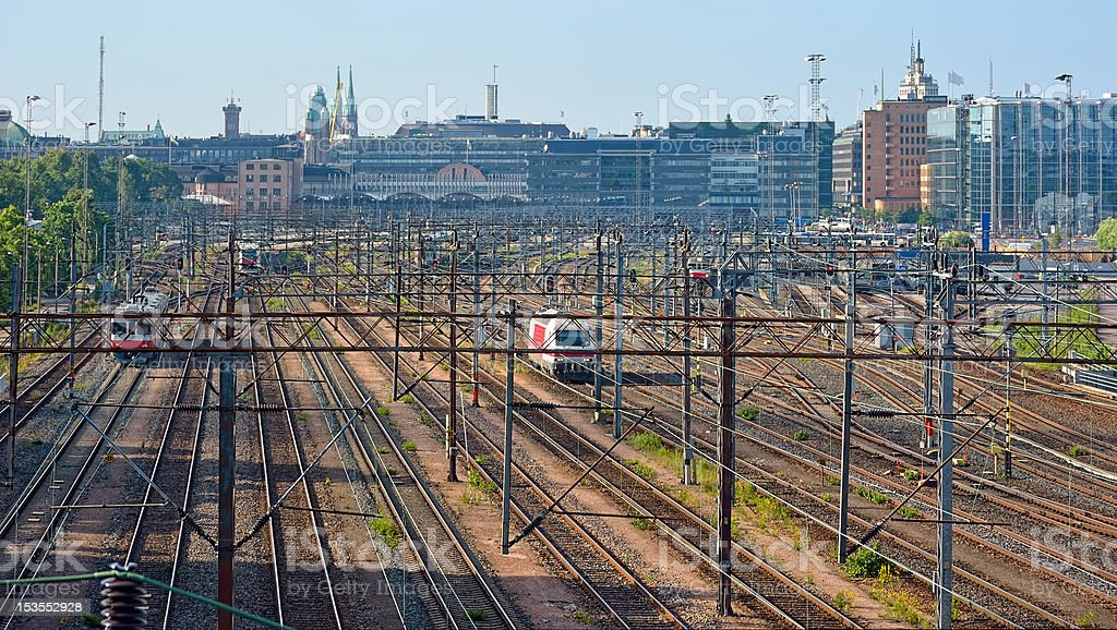 Rail tracks to the Central railway station royalty-free stock photo