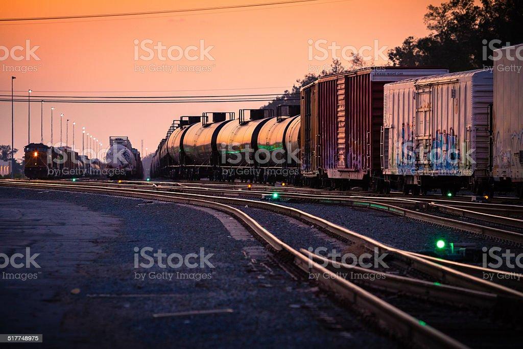 Rail Yard At Sunset stock photo