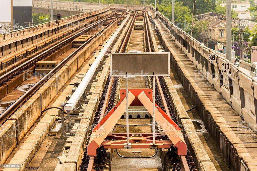 Rail yard, tracks and endstation. stock photo