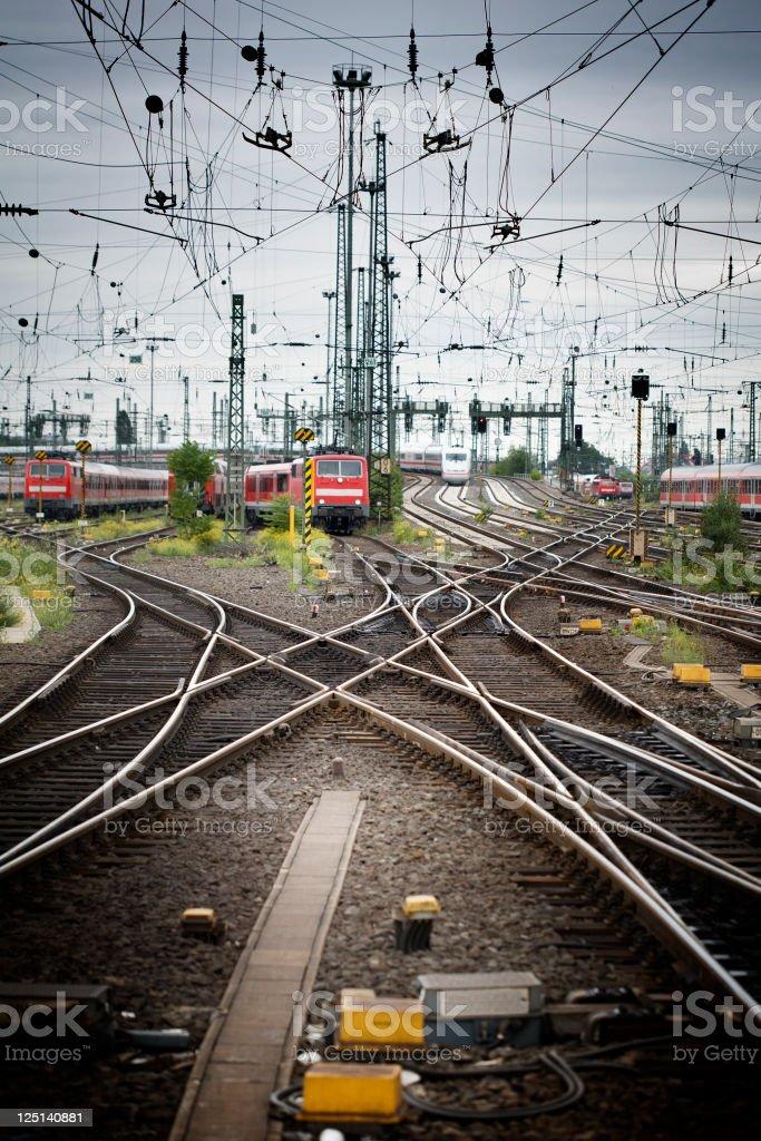 Rail yard, tracks and trains stock photo