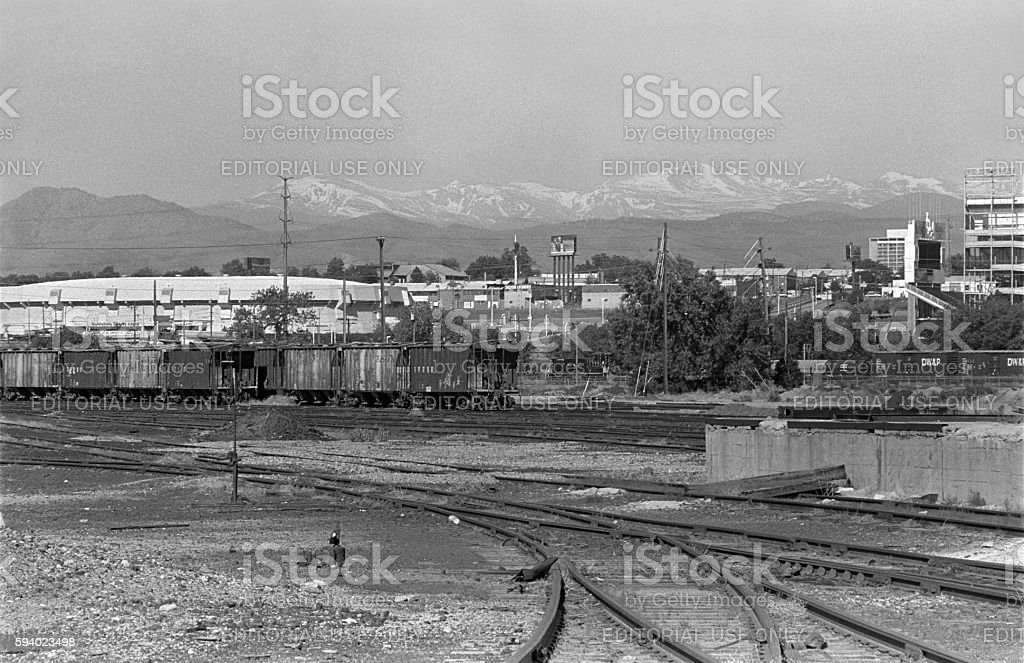 Rail yards McNichols Arena Downtown Denver Colorado Mile High Stadium stock photo