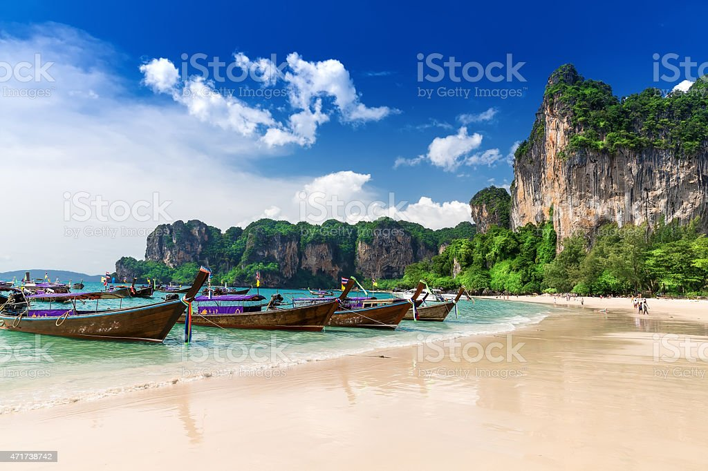 Railay beach in Krabi Thailand. Asia stock photo