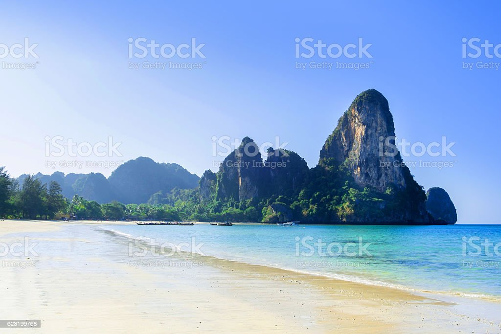 Railay beach in Krabi Thailand perfect vacation stock photo