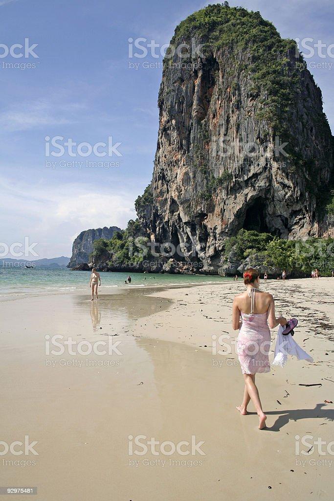 Railay Beach shore walk tourists thailand royalty-free stock photo
