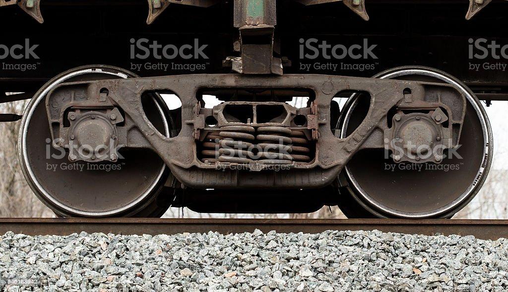 railcar wheels stock photo