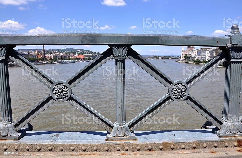 railing of the Chain Bridge, Budapest, Hungary royalty-free stock photo