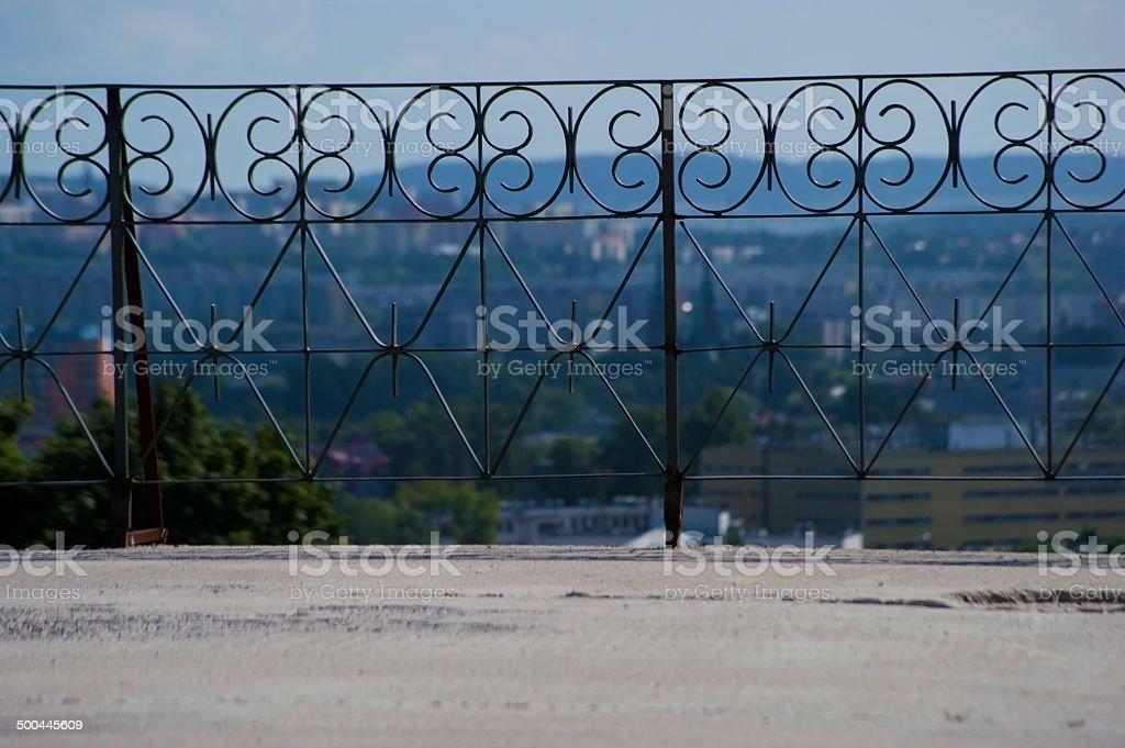 Railing on the terrace stock photo