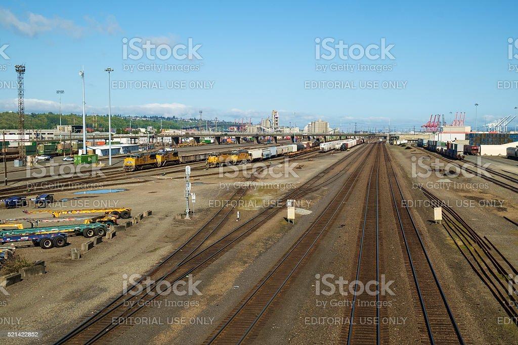 Railraod yard with tracks and trains stock photo