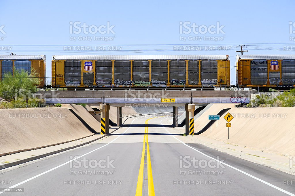 Railroad above Road stock photo