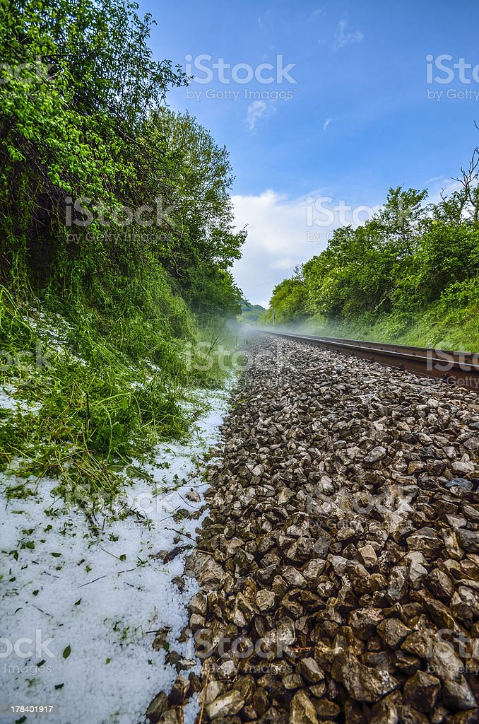 railroad and hail royalty-free stock photo