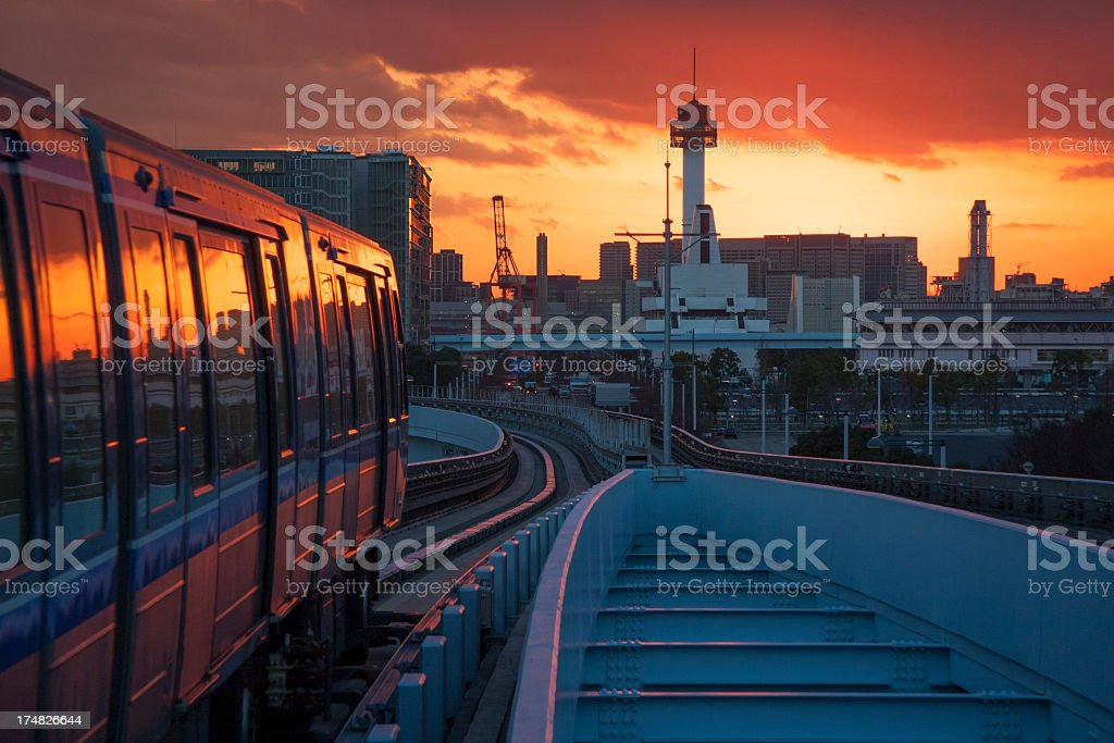 Railroad and monorail at Sunset royalty-free stock photo