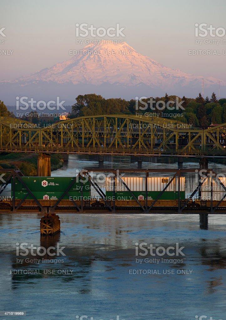 Railroad and Road Bridges over Puyallup River Mt. Rainier Washington stock photo