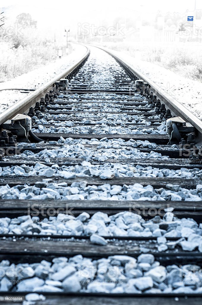 Railroad at winter stock photo